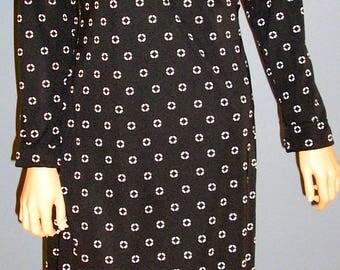 Vintage 90s, Evan Picone, black, cream, faux wrap, dress, size Medium, MINT