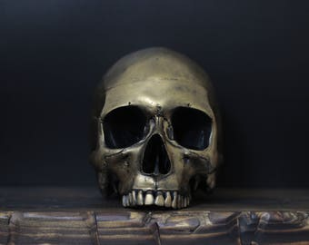 The Golden One II - Distressed Gold Full Scale Life Size Half Jaw Realistic Faux Human Painted Skull Replica / Art / Ornament / Home Decor