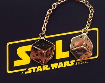 Golden Dice Chain Pin - Star Wars Gold Die Flair - Han Solo Millennium Falcon Cock-Pit Dice - Hard Enamel - The Last Jedi Flair - Lucky Dice
