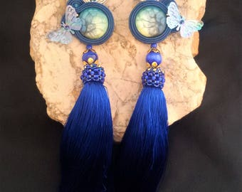 soutache earrings sea tassel, soutache, soutache jewelry, soutache jewels, soutache embroidery, handmade earrings, tassel earrings