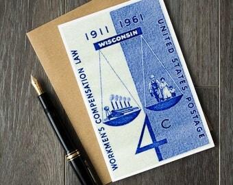 Workmens compensation, get well soon card, vintage postage stamp art, stamp art cards, lawyer greeting cards, vintage note cards, wisconsin