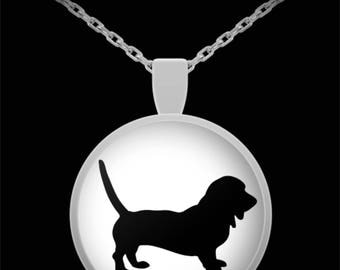 """Adorable Hound Dog Silhouette Necklace with Pendant! Ideal gift for an animal lover! Wear this proudly on 22"""" silver plated necklace!"""