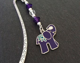 Purple elephant bookmark / animal bookmark / bookmarks / book accessories / reading accessories / animal lover gift / book lover gift