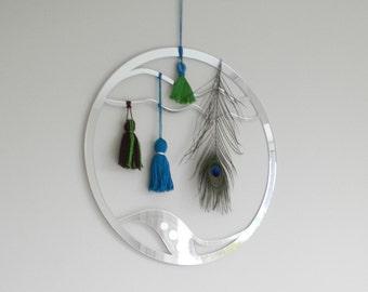 Mirror dreamcatcher, green blue dream catcher, mirror wall hanging,mirrors, nursery decor,nursery wall art, large wall art,childrens bedroom