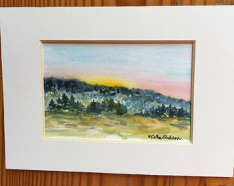 An Original Landscape Watercolor, Mountains and Trees