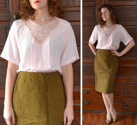 Pearlescent Pretty Top | vintage 80's blush lace beaded blouse