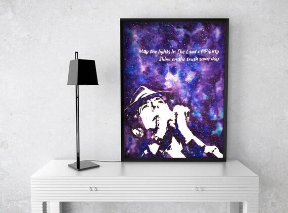Leonard Cohen tribute | Framed poster | Wall decor | Music artwork | Folk Art | Purple galaxy | Watercolor painting| ZuskaArt
