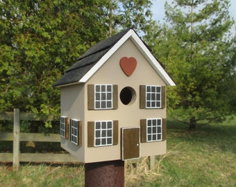Heart Bird House, Handmade Birdhouse, Outdoor Wood Birdhouse, Unique Birdhouse, Wooden Birdhouse, Anniversary Birdhouse