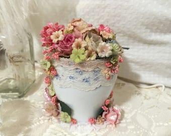Romantic Rose Teacup, Shabby Chic Teacup, Shabby Chic Decor, Teacup, Teacups, Flower Cup, Vanity Decor, Table Decor, Altered, Rose Teacup