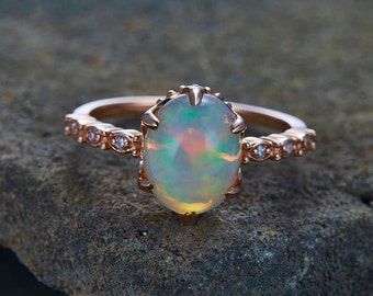 Opal Ring 8x10mm Oval Opal Engagement Ring Unique Art Deco Ring 6-Prong Set Vintage Floral Bridal Ring Silver Rose Gold Plated Promise Ring