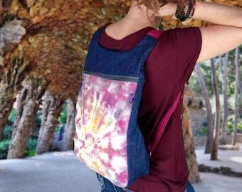 Mochila hippie mujer, mochila tejana rosa, mochila teñida, mochila de tela, Estampado mandala, Mochila batik, mochila urbana, bolso rosa