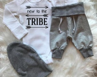 BABY BOY Coming Home Outfit,baby joggers, newborn sweatpants, New to the Tribe, slouchy baby beanie, baby boy outfit