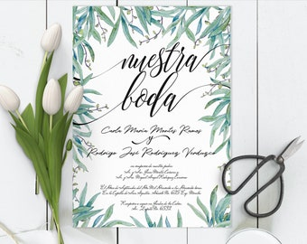 Invitaciones de boda, Spanish wedding Invitation, Greenery, Nuestra Boda, Our wedding. Instant download invite DIY In Spanish