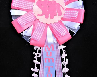 Mum to be Baby Rosette, Mum to Be Baby Corsage, Baby Shower, Mum to Be, Pin Back, Pink and White, Its a Girl, Baby Keepsake