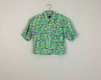 90's Cropped Tropical Button Down
