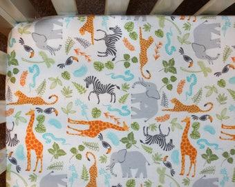 Neutral Safari Animal Flannel Crib Bedding. Safari Nursery. Neutral Nursery Bedding