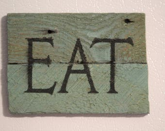 """Wood Magnet ~ """"EAT"""" , Handmade, Painted, Rustic, Kitchen"""