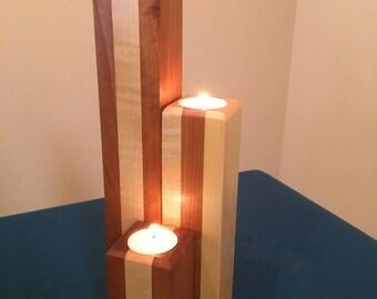 Hardwood Tealight Candle Holders- Set of Three