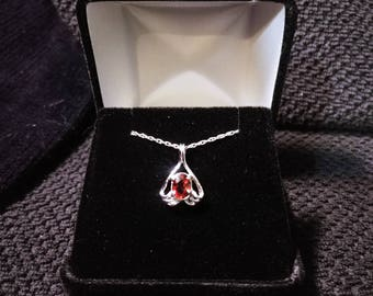 Red Spinel Gemstone Solid Sterling Silver Necklace