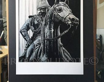 Limited Edition. Duke Of Wellington Equestrian Statue, Glasgow, Scotland. Giclee print.