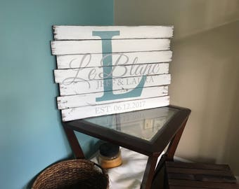 Large Pallet Last Name Wood Sign - Custom Name Sign - Personalized Name Sign - Rustic Family Sign - Personalized Wedding Gift - Wedding gift