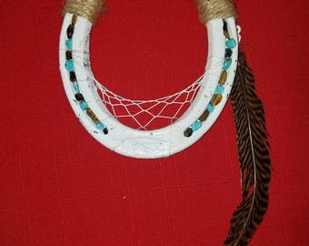 Turquoise and Natural Stone Horseshoe Dream Catcher with Feather
