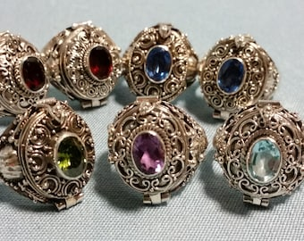 Sterling Silver Poison Rings, Various Gem Color and Sizes