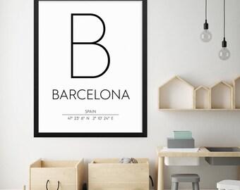 Barcelona Spain Print, Barcelona Poster, Barcelona Coordinates Printable, Barcelona Wall Art, Barcelona Decor, Travel Poster
