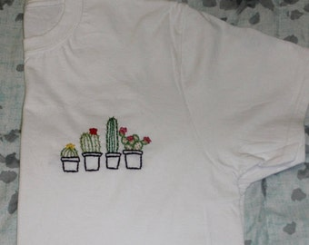 Group Cacti Pocket Sized Hand Embroidered Tee