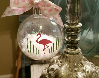 Flamingo in the Snow Plastic Shatter Proof Christmas Ornament