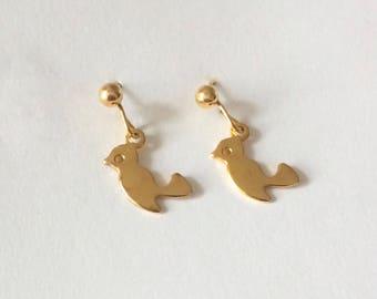 Vintage 1960's Gold Bird Dainty Dangle Drop Earrings