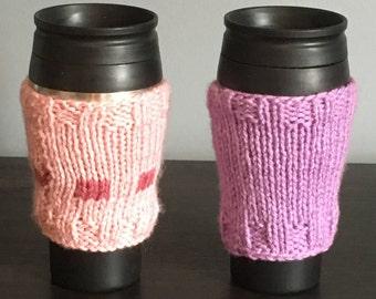 Knitted Mug Hug, Mug Hug, Cup Cozy, Knitted Cup Cozy, Coffee Take Out Sleeve, Knit Coffee Sleeve, Reusable Coffee Sleeve, Coffee Sleeve