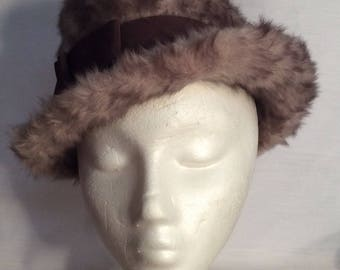 Cathay of California vintage hat 1960's faux fur felt made in Italy theater costume winter hat taupe gray fedora