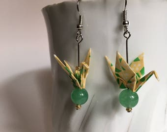 Origami Crane Earrings - Summer Green and Yellow
