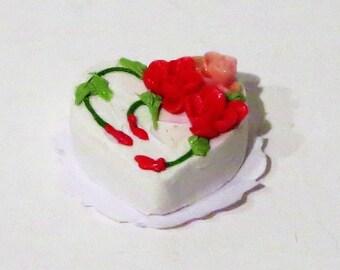 Miniature Dollhouse Heart Shaped Cake 1:12 Scale