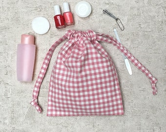 smallbags pink gingham - 2 sizes - reusable cotton bag - zero waste