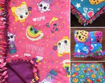 LARGE Shopkins Handmade Fleece Tie Blanket | 55x65 | Shopkins Bedding | Shopkins Home Decor | Shopkins Blanket | Shopkins Bedroom