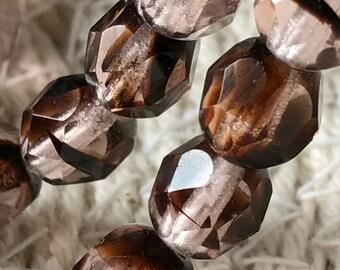 Czech Fire-polish Glass Beads, 6mm, Rosaline Tortoise, Single Hole, Qty. 25 Beads/Strand