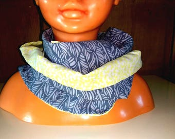 Snood/scarf child duo colors gray and light yellow