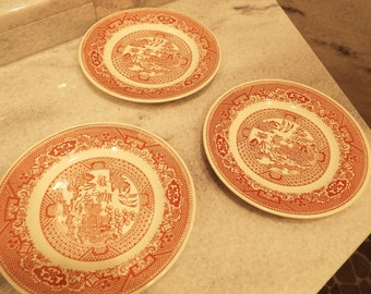 3 bread & butter plates vintage Pink Willow Ware by Royal China