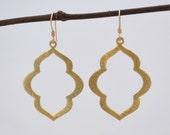 Gold Marquise Flower Dangle Drop Earrings // Gold Filled Hooks // Bridesmaids gift // Minimalist Earrings