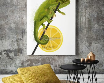 Chameleon Print, Chameleon Art, Modern Art, Animal Print, Living Room Wall Art, Large Wall Art, Surreal Art, Kitchen Decor, Lizard Decor