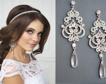 Wedding earrings, Chandelier Earrings, Drop Dangle Earrings, Wedding Earrings, Vintage Long Earrings, Bridal Earrings