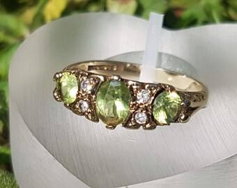 Three Stone Peridot & Diamond 9ct Gold Ring