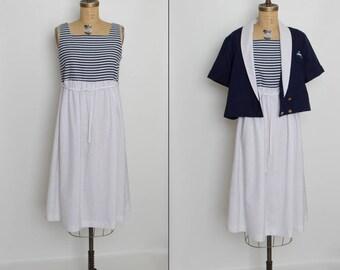 vintage 80s nautical maternity dress with jacket