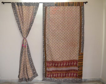 GIFT Indian quilt Hippy curtain Cotton Indian curtain Boho curtain gypsy curtain partition room divider recycled vintage BohemiancurtainQC36