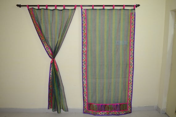 Indian Saree Curtain Partition Curtain Scarves Curtain Gypsy Curtain Hippy  Shower Fabric Pinksari Curtain Sheer Curtain Room Divider SKCT14b