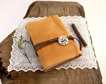 Mustard Leather Journal, Mustard Leather Notebook, Handmade Personalized Mustard Leather Journal, handmade Personalized leather Notebook