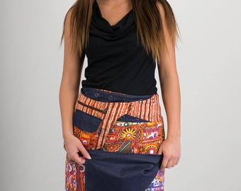 Reversible Cotton Skirt Indian Banjara Multi Colour Print Denim Cotton Detachable Pocket Long Length