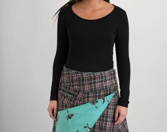 Reversible A Line Green Red Tartan Wool Green Duck Corduroy Skirt with Pocket Long Length
